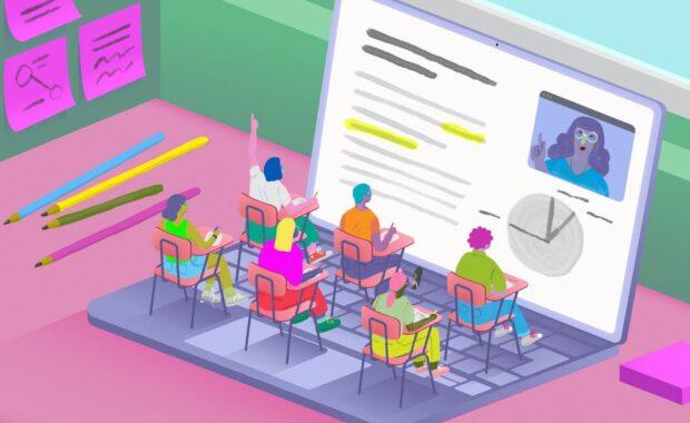 Personas tomando clase delante de una Notebook
